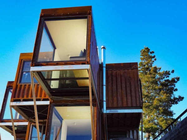 Shipping container house architecture glass bottom view