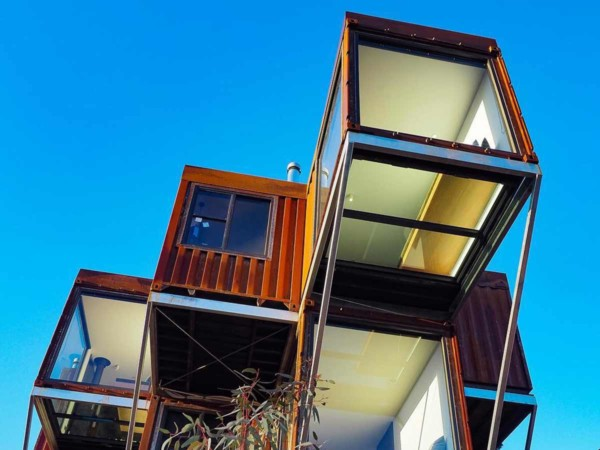 Shipping container home view glass floor bottom architecture