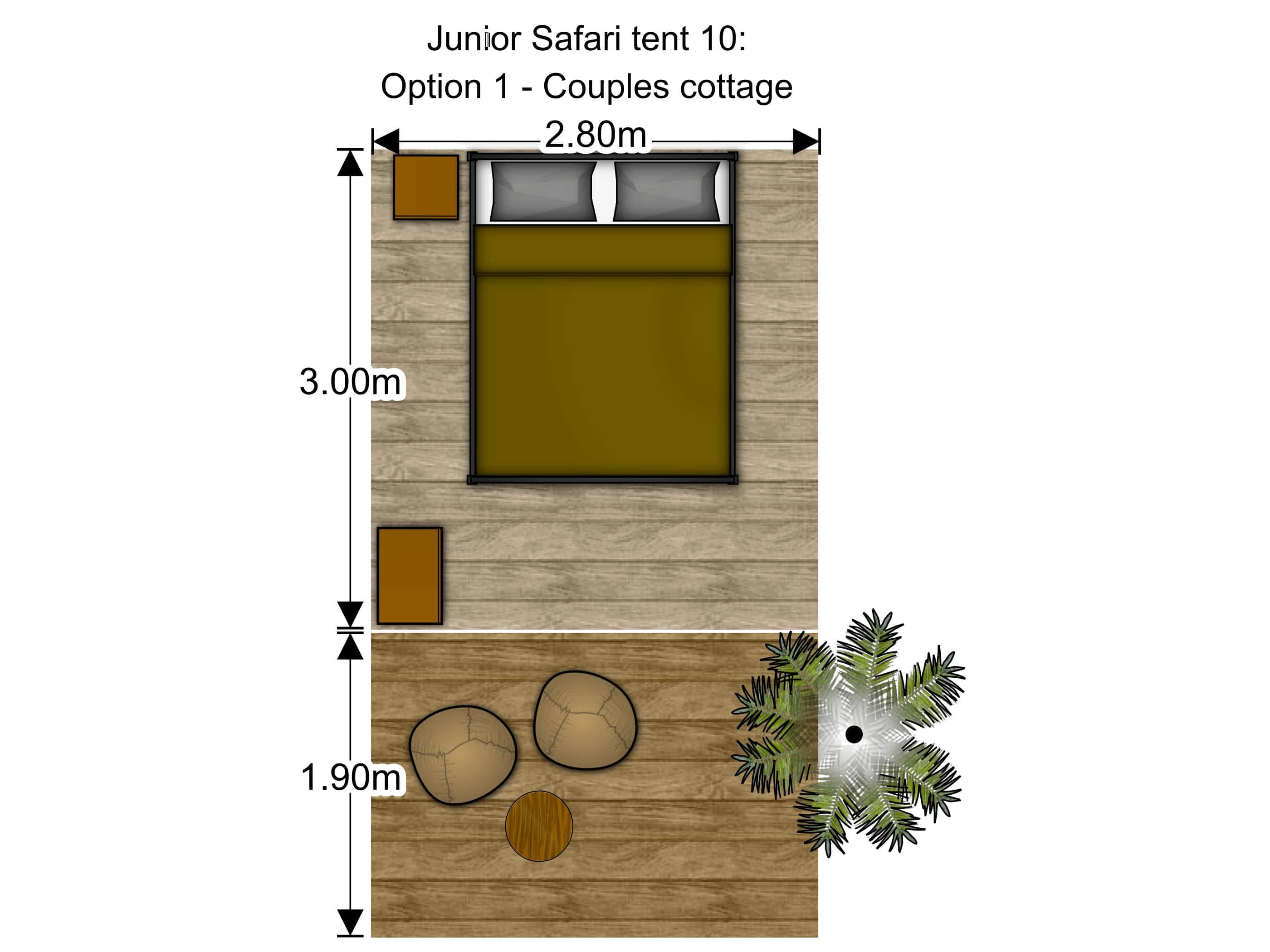 Small luxury glamping tent floorplan