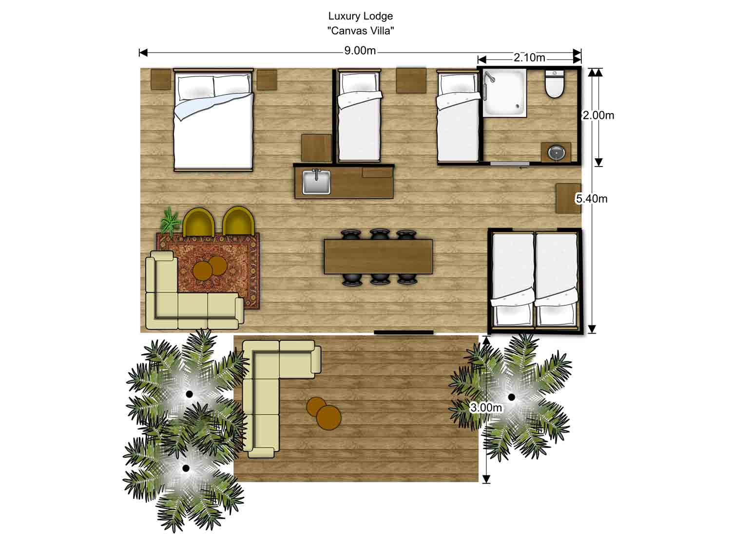 Floorplan Luxury Glamping Tent Family Group
