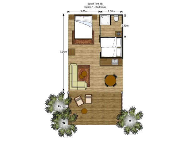 Floorplan Luxury Safari Glamping Tent Kids Bed Nook