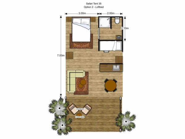 Floorplan Luxury Safari Glamping Tent Loftbed
