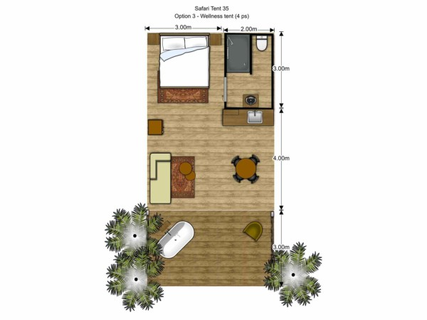 Floorplan Luxury Safari Glamping Tent Wellness spa