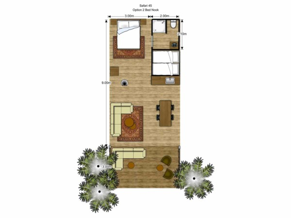 Floorplan Luxury Safari Glamping Tent Family