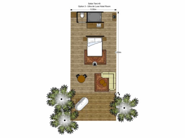 Floorplan Luxury Safari Glamping Tent Off Grid accommodation