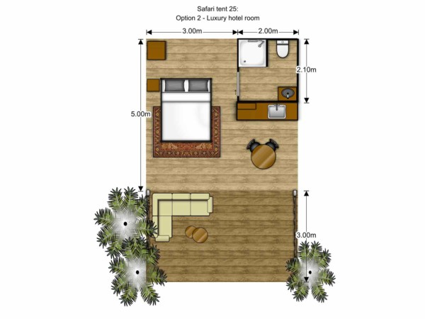 Floorplan Luxury Safari Glamping Tent Family eco friendly hotel room